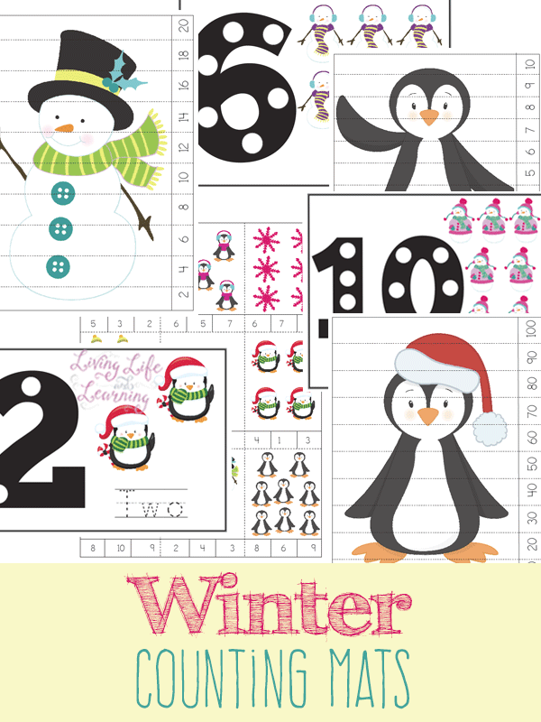 Cold days means staying inside, so I love having some extra practice sheets around. These Winter themed Counting Mats are perfect for little ones on those cold days! :: www.thriftyhomeschoolers.com