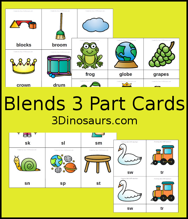Blends seem to be one of the more difficult aspects of sight words and learning to read, at least for my kids. Whether yours struggle with making the sounds or recognizing them when they are spoken, these 3-part cards are a great way to learn and review them! :: www.thriftyhomeschoolers.com