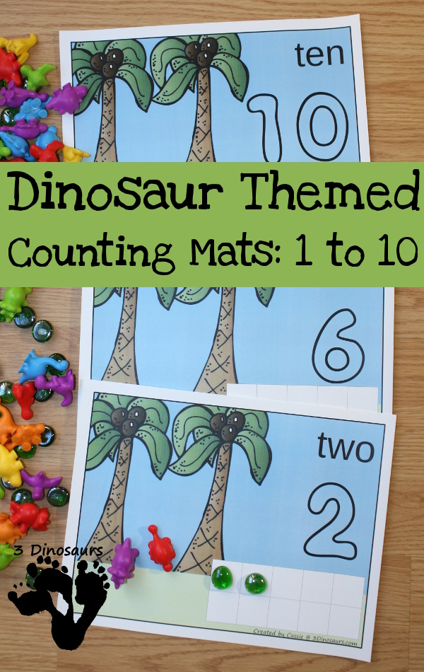 Most kids love learning and playing with dinosaurs. Whether they love them, you're studying them or working on counting, these Dinosaur Themed Counting Mats are a fun way to practice! :: www.thriftyhomeschoolers.com