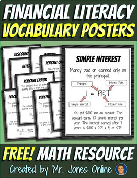 These FREE Financial Literacy Vocabulary Posters are a lifelong tool for your students! Financial Literacy is an important topic often looked when learning math. Use these nine informative posters to help them remember these vocabulary words! :: www.thriftyhomeschoolers.com
