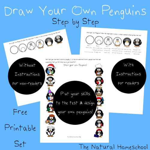 This is a great step-by-step tutorial on how to draw a penguin. One page comes without written instructions for non-readers and one page comes with instructions for readers. :: www.thriftyhomeschoolers.com