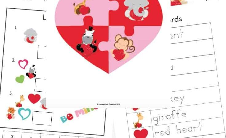 Valentine's Day Preschool Printables for Math & Literacy