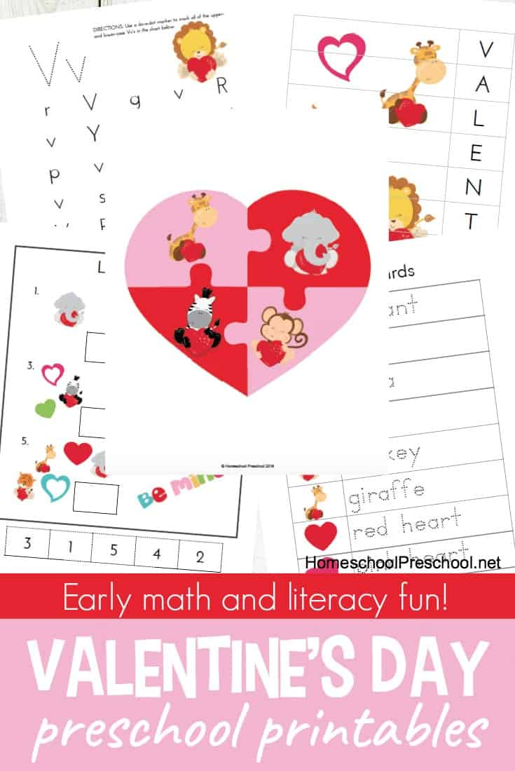 This printable Valentine's Day Preschool pack includes both math and literacy activities perfect for little ones and for breaking up the monotony of the day-to-day! Get them FREE today! :: www.thriftyhomeschoolers.com