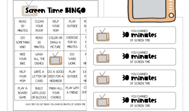 Printable Screen Time BINGO Freebie
