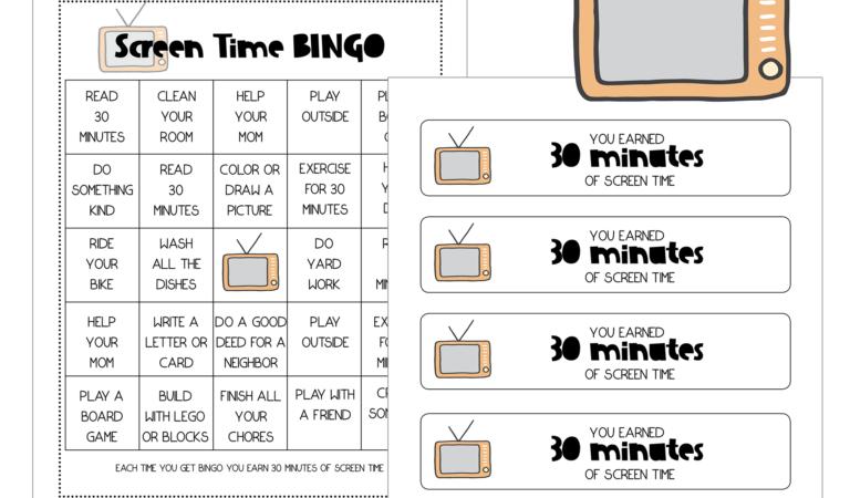 Printable Screen Time BINGO Freebie