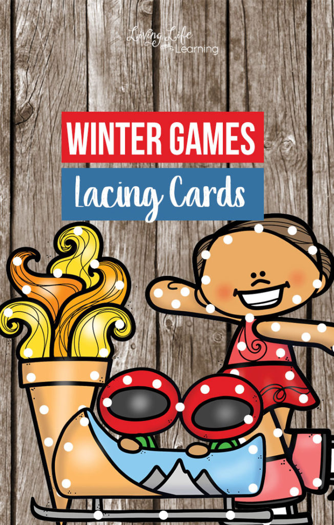 Your little ones can pass the time while working on their fine motor skills with these fun Winter Games Printable Lacing Cards. :: www.thriftyhomeschoolers.com