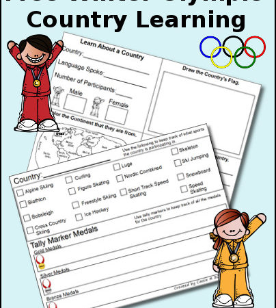 Free Winter Games Country Learning Worksheets