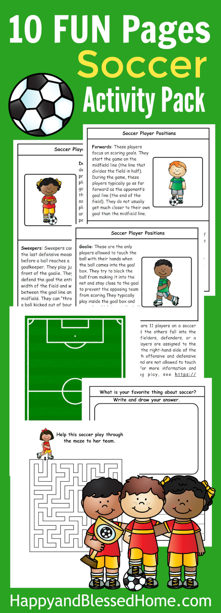Your little soccer fans will love this fun Soccer Activity Pack for Kids. In this 10-page pack, kids will learn about the different positions, plus a writing activity, a maze and more! :: www.thriftyhomeschoolers.com