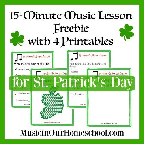 Bringing music in to your homeschool doesn't have be difficult. This FREE St. Patrick's Day 15-Minute Music Lesson is a perfect addition to your holiday studies! Plus...it includes 4 free printables to use as you listen and learn! :: www.thriftyhomeschoolers.com