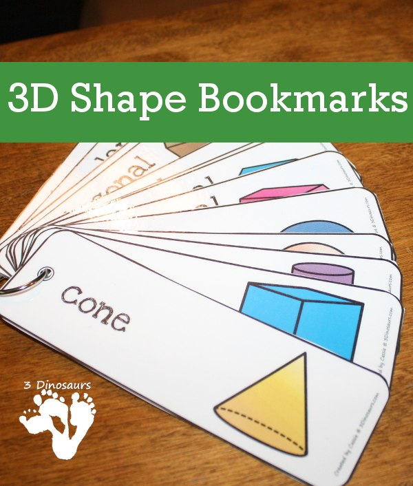 If your kids struggle with 3D shapes, these FREE printable 3D Shapes Bookmarks are perfect! Print them, laminate them and use them over and over as larger flashcards, wall cards or bookmarks as a fun reminder! :: www.thriftyhomeschoolers.com