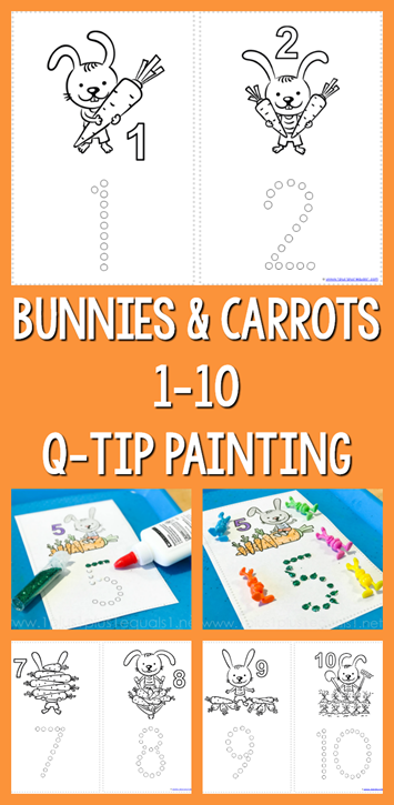 Q-tip painting is both fun and a great way to work on those fine motor skills! These Bunnies & Carrots Q-tip Counting Printables cover numbers 1-10 and are perfect for Spring! :: www.thriftyhomeschoolers.com