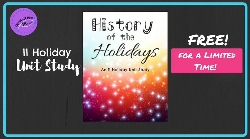 This fun History of the Holidays Unit Study covers 11 major U.S. holidays including New Year's Day, April Fool's Day, Mother's & Father's Day and more! Get it absolutely FREE thru Friday, March 16th, 2018!! :: www.thriftyhomeschoolers.com