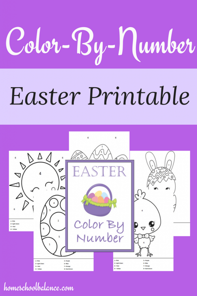 Do your kids love to color? These adorable Easter themed color by number printables  include 5 different pages of fun! These are perfect for little ones! :: www.thriftyhomeschoolers.com