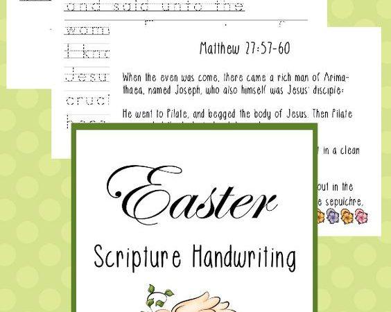 FREE Easter Scripture Manuscript Handwriting Pack