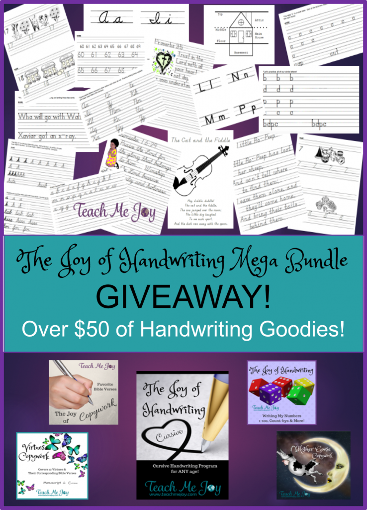 If you're looking to help your child improve their handwriting, don't miss this MEGA Joy of Handwriting Bundle GIVEAWAY! This bundle includes manuscript and cursive handwriting practice pages, Bible verses copywork, numbers, nursery rhymes copywork and virtues copywork. :: www.thriftyhomeschoolers.com