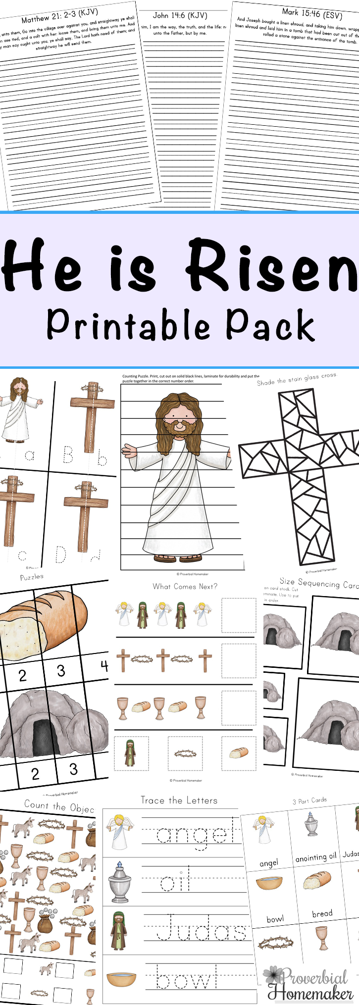 This 100-page He Is Risen Resurrection Pack is a great way to bring the Resurrection to your homeschool. This pack includes story writing pages, cross themed activities, Bible copywork pages and MUCH MORE! :: www.thriftyhomeschoolers.com