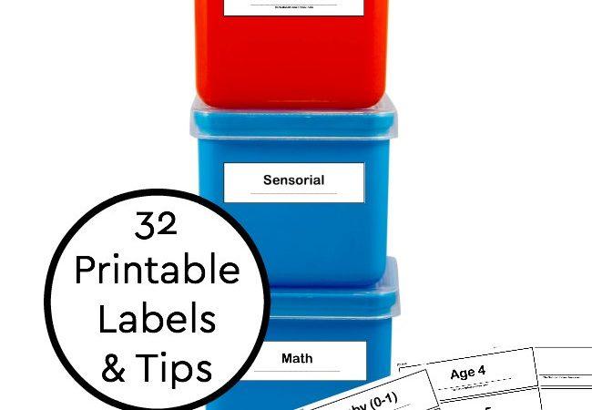 Organize Montessori Materials at Home + Printable Montessori Labels