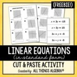 Free Linear Equations Cut & Paste Activity