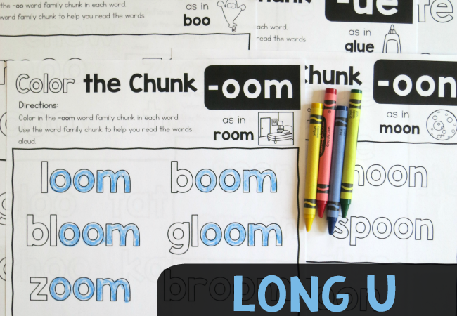 Free Long u Word Families Worksheets