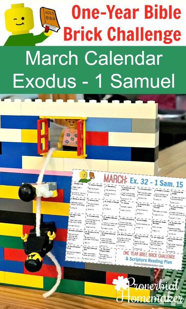 The March One-Year Bible Brick Challenge is out and takes us from Exodus to 1 Samuel! While these are meant to be a fun addition to your Bible studies, these are a great way to get your kids involved in reading and actively learning God's Word! :: www.thriftyhomeschoolers.com