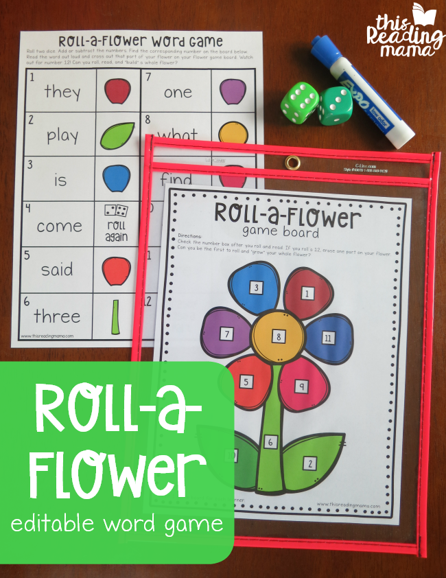 This Spring Roll-a-Flower Word Game is inspired by that childhood favorite. I love that it is such a fun way to work on sight words, counting, reading and more! :: www.thriftyhomeschoolers.com