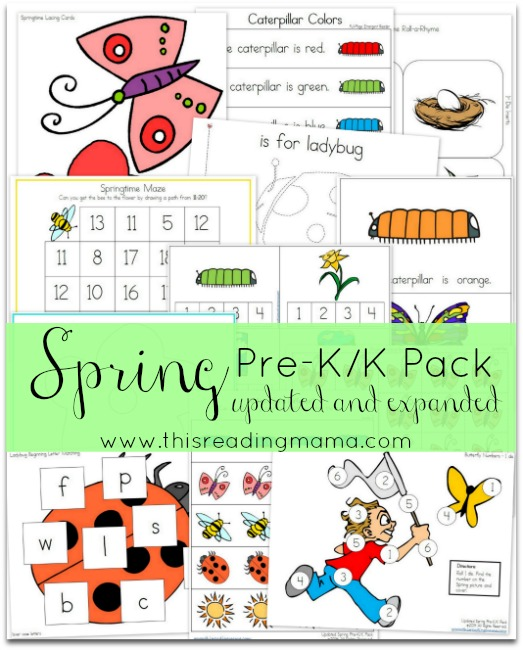 Spring is a fun time to get outside and enjoy the fresh air. This adorable Spring Pre-K/K pack and includes 50+ pages of activities for young learners! :: www.thriftyhomeschoolers.com