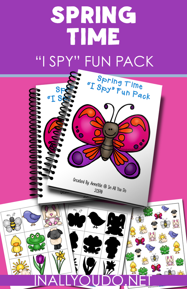 "Spring is a wonderful time to get out in the fresh air, see the new flowers blooming and the trees blossoming! While you could spend all day outside playing ""I Spy"", kids will love having this work through on those rainy, inside days! :: www.thriftyhomeschoolers.com"