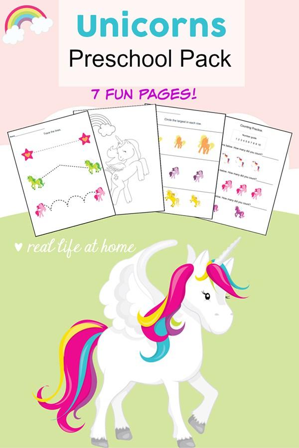 FREE Unicorns Preschool Pack - Thrifty Homeschoolers