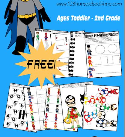 Superhero Worksheets Freebie (Tot-2nd)