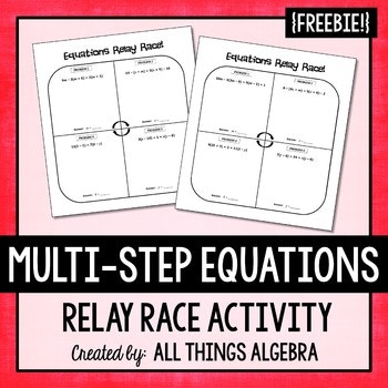 Multi-Step Equation Relay Race Activity Freebie