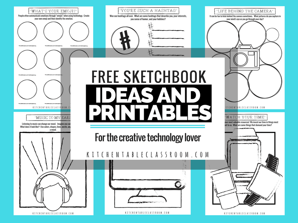 Help kids think consciously about technology and their use of it with these FREE Technology Lover Sketchbook Ideas and Printables. :: www.thriftyhomeschoolers.com