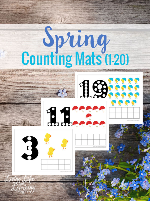 Little ones will love practicing their counting with these Spring themed Counting Mats. These Spring Counting Mats cover numbers 1-20 and are perfect for reviewing numbers on those rainy days! :: www.thriftyhomeschoolers.com