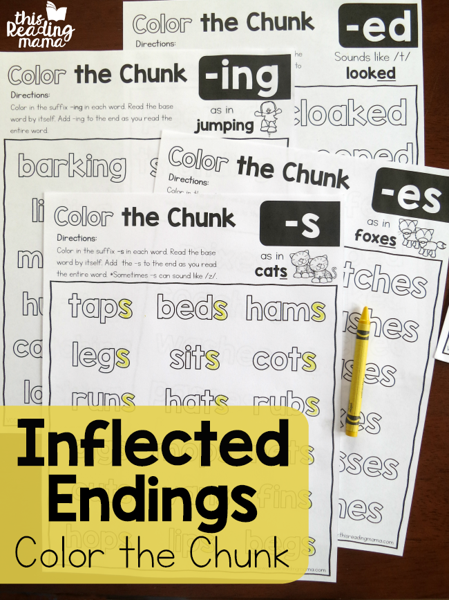 My kids have the hardest time remembering the endings for words. If yours do too, you'll want to snatch up these FREE Color the Chunk - Inflected Endings printables. :: www.thriftyhomeschoolers.com