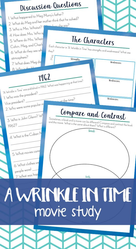 A Wrinkle in Time is such a timeless classic that lots of children read and then want to watch the movie. Of course, as a homeschooling mom, we want those movie moments to have some sort of learning activity to go with them which makes this A Wrinkle in Time Movie Study an amazing tool!
