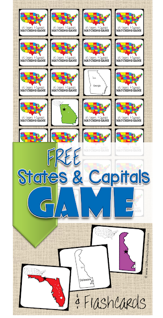 If you are learning yourstate capitals then you are going to want this printable! This State Captial Game will not only help your children learn their state capitals but they will also have loads of fun while doing so!