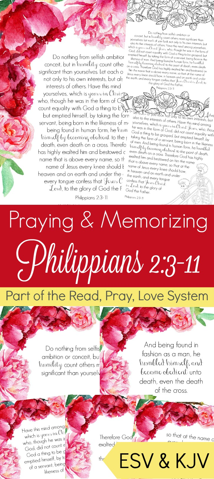 What better way to begin thinking of others than by making sure to commit God's truths into your heart through prayer! These prayerand memory cards of Philippians 2:3-11 are sure to help you reach your goal of caring for others.