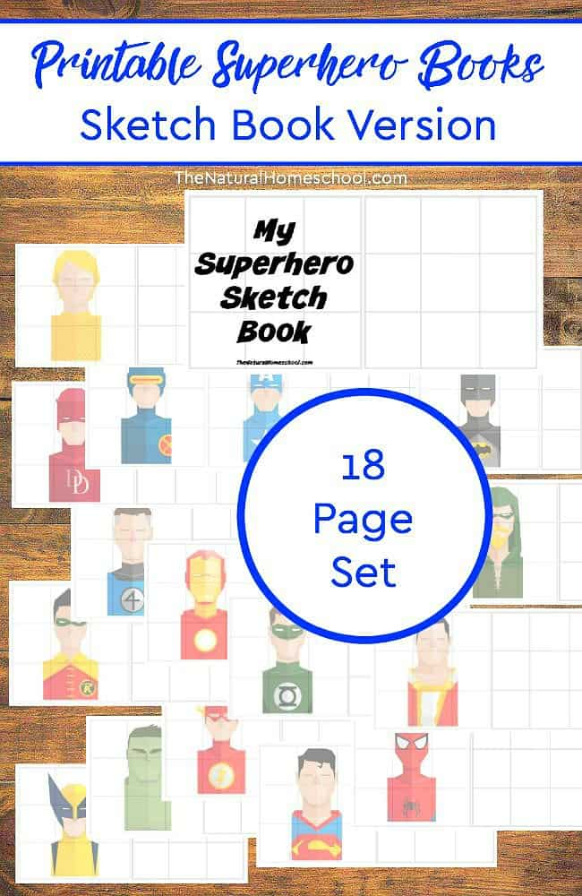 If you have a superhero fan or a budding artist, don't miss this fun and free Sketch book! Choose from 18 different superheros! :: www.thriftyhomeschoolers.com