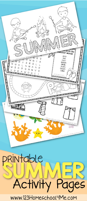This summer activity pack is filled with so much content that your young ones won't have a chance to be bored this summer. Inside you will find coloring pages, games, word searches and more. Not to mention that there are also are also six different themes to go with all these activities!