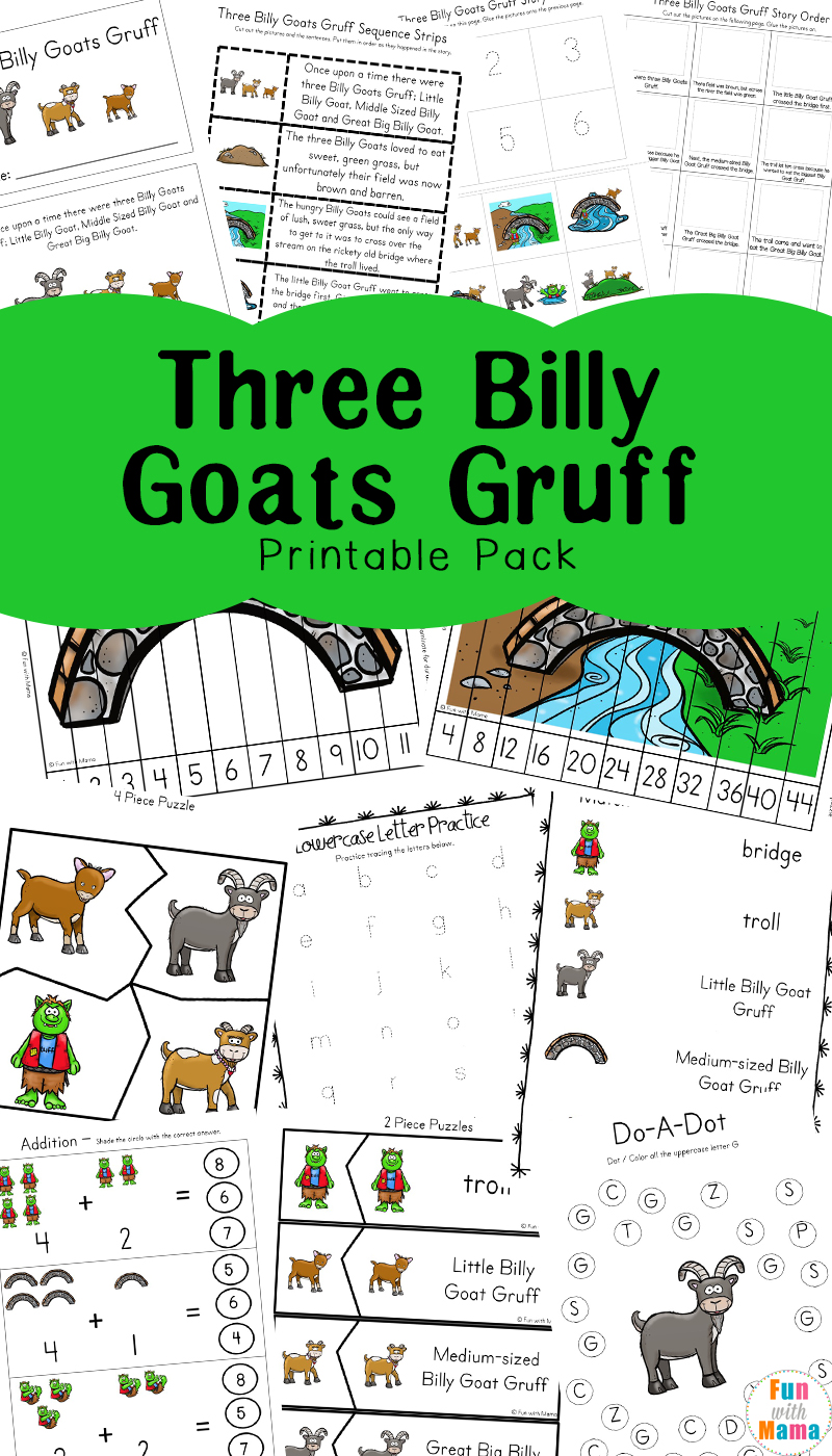 Three Billy Goats Gruff has always been a childhood favorite. Now with this handy activity pack not only can it provide lots of laughs but it can also help teach reading comprehension.
