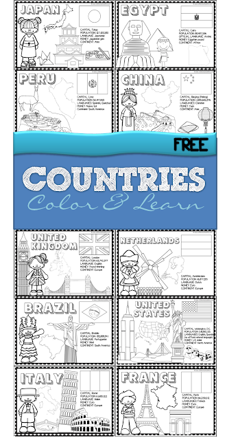 If you are planning to study the various countries of the world you are gonna love this free world book! Inside you will findfamous landmarks, country flag, country shape, typical dress, and so much more.