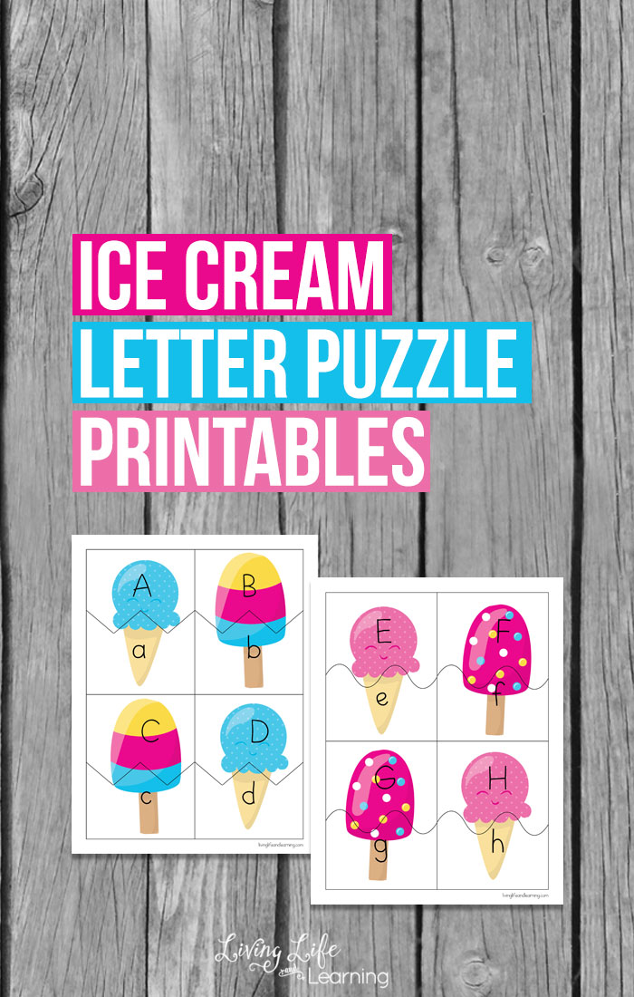 What child doesn't love some form of ice cream? These letter puzzle printables are a great way to help teach your little one letter recognition and hand and eye coordination all while incorporating a child's favorite treat.