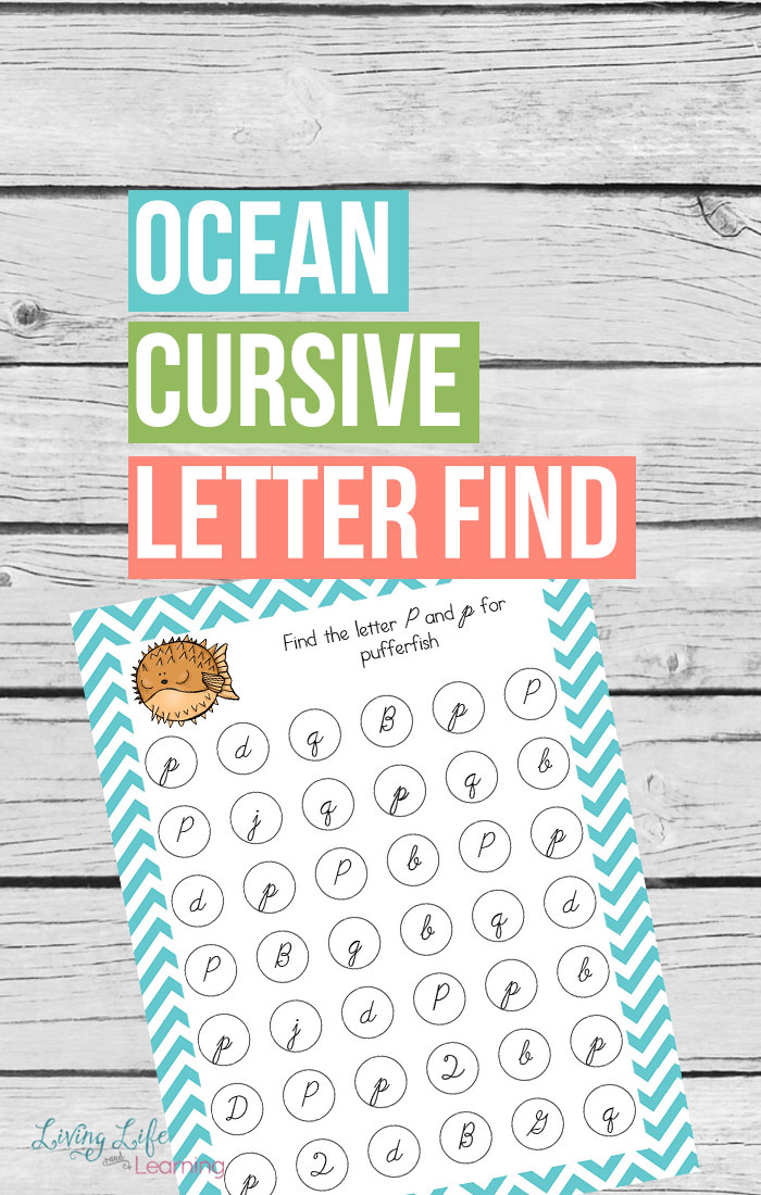 If you are going to learn how to write in cursive you first need to learn how to recognize the letters. This ocean themed printable does just that and helps to keep your writer engaged in the process.
