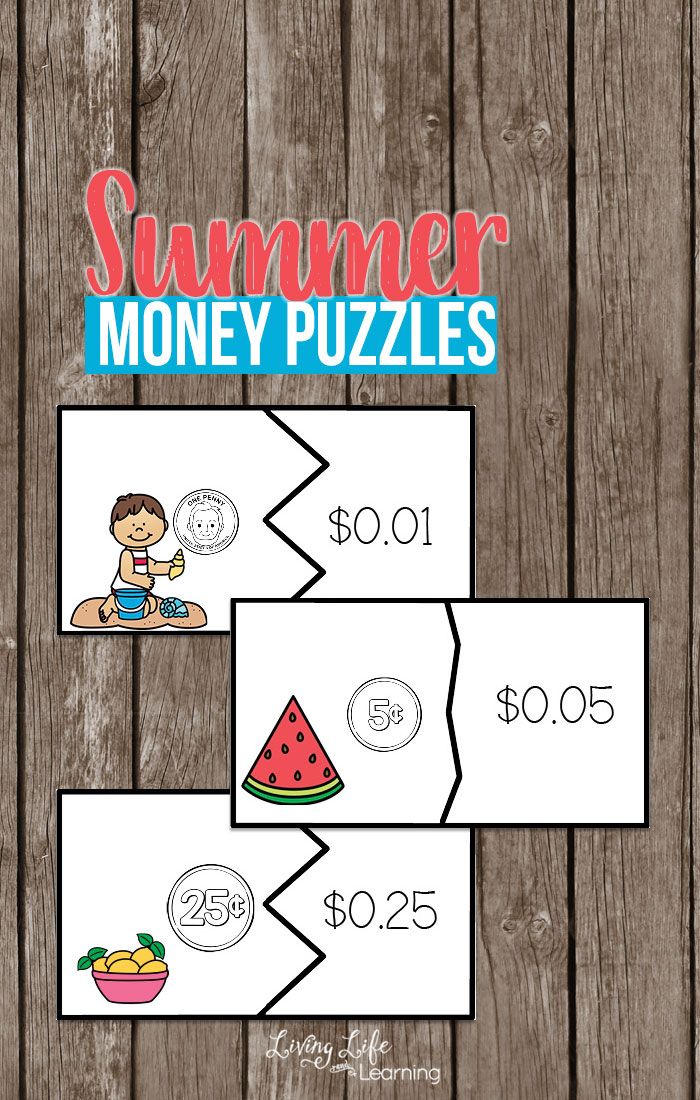 Learning how to recognize money to their valueis a very important math skill. These money puzzles are a great way to help your young learner begin to recognize their monetary values.