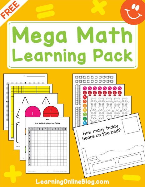 The Mega Math Learning Pack comes with free printable manipulatives for hands-on learning as well as helpful resource pages.