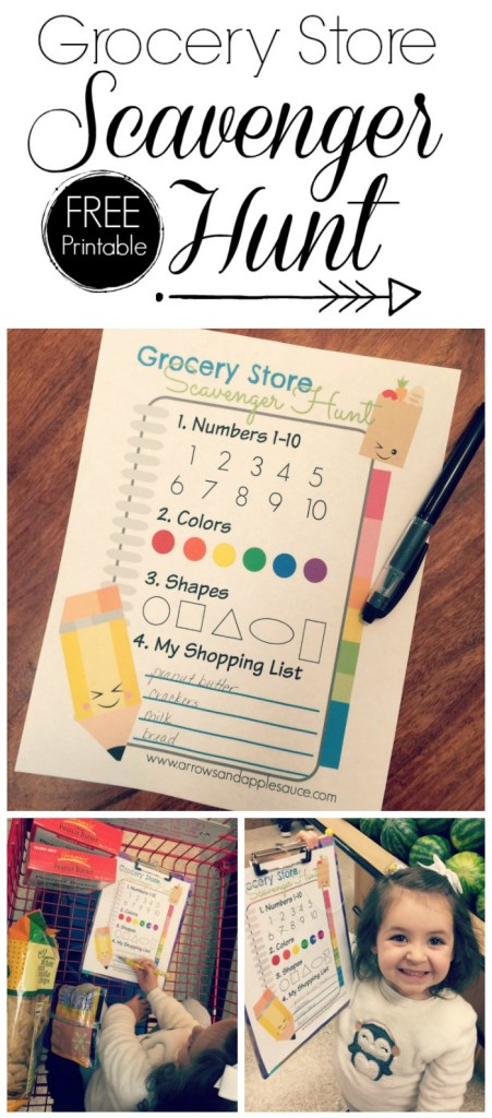 "Grocery shopping can be stressful when you are shopping with littles. If only there was a way to make it a fun experiences for the little ones while maintaining your sanity. Maybe this scavenger hunt printable is just what you need! On it, your children will be so busy looking for the things on their own ""list"" that maybe just maybe they won't sneak extra cooking into the cart."