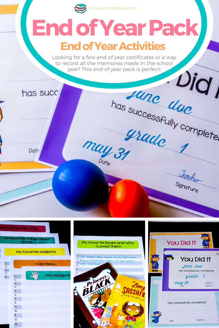 Now that the end of the year is upon many of us, it is time to plan out ways to make the last day special. These memory pages and end of the year certificates are sure to help your young student feel special!