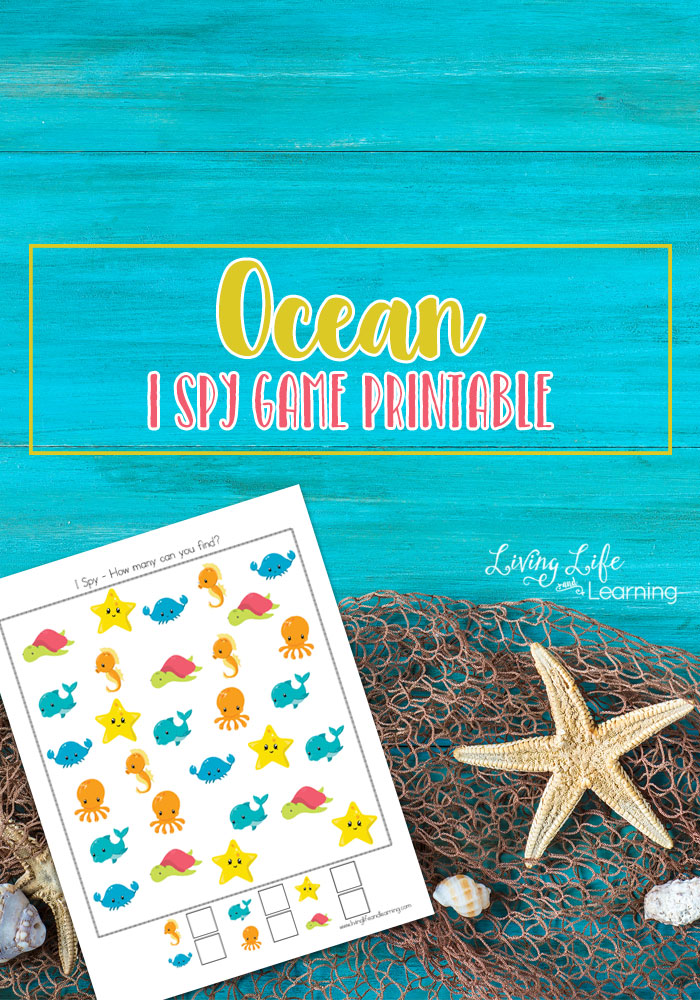 If you have an ocean theme in mind for your preschooler you are going to love this ocean I spy game. Not only will your young one enjoy the pictures but they will also have a blast finding and counting the various ocean animals!