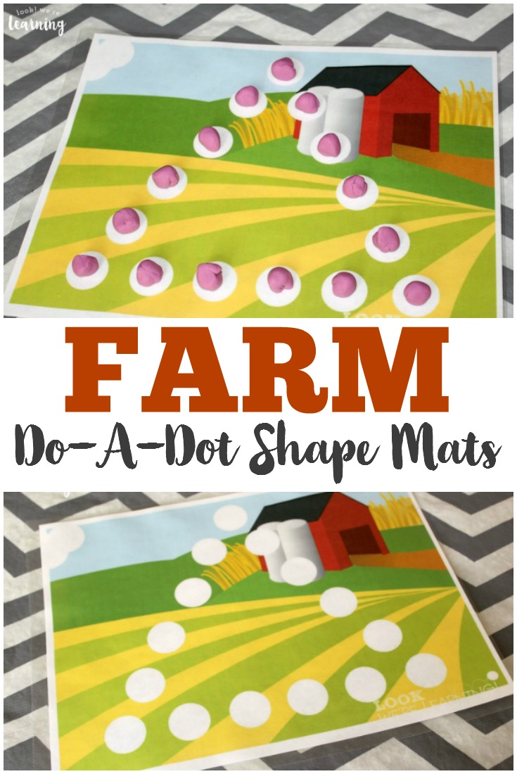 Learn both shapes and fine motor skills with these Farm Do-a-Dot Shape Mats! These are perfect to add to your preschoolers farm unit. :: www.thriftyhomeschoolers.com