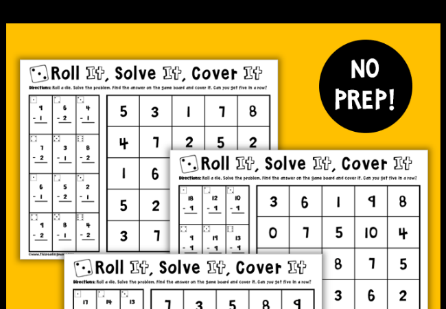 FREE No-Prep Subtraction Games