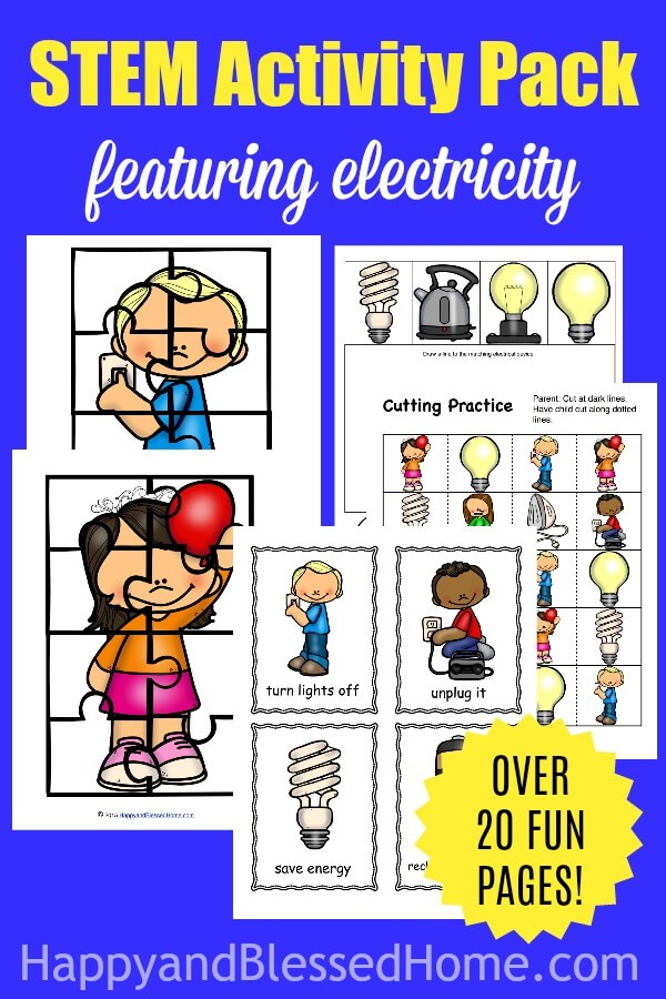 Do your kids love STEM activities? Now they can learn even more about electricity with this 20-page STEM Activity Pack FREEBIE. This pack includes some puzzles, cutting practice, coloring sheets, problem solving pages and MORE! :: www.thriftyhomeschoolers.com